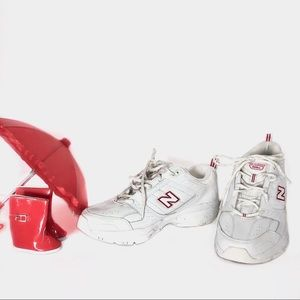 New Balance Leather Dad Sneakers White w/ Red 11